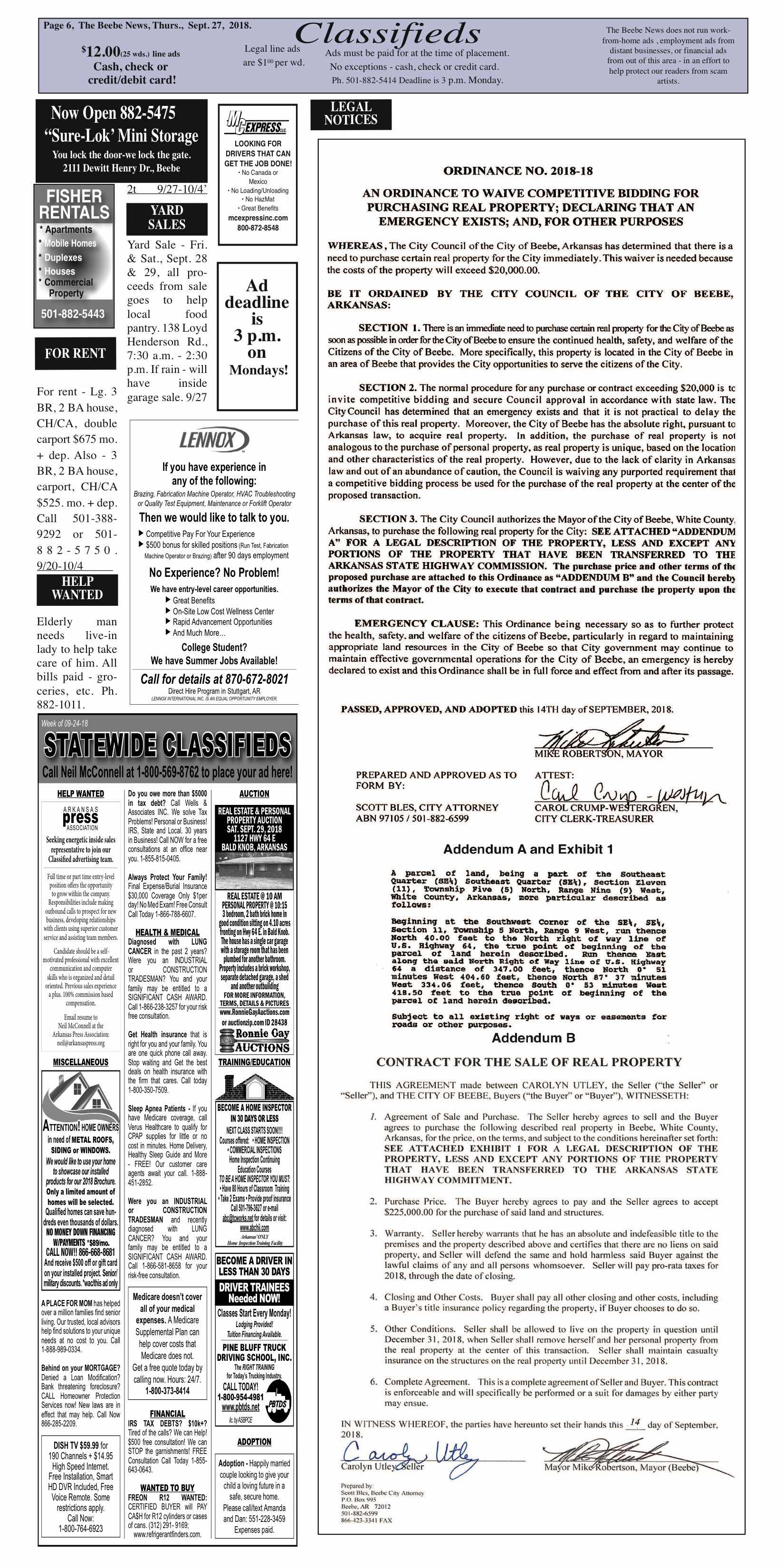 Classifieds Page - The Beebe News